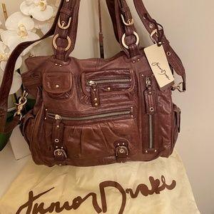 Junior Drake Amber Leather Tote w/ Crossbody strap